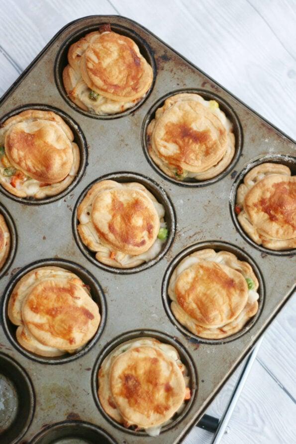 Mini chicken pot pies in a muffin tin