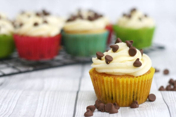 chocolate chip cupcakes in colourful cases