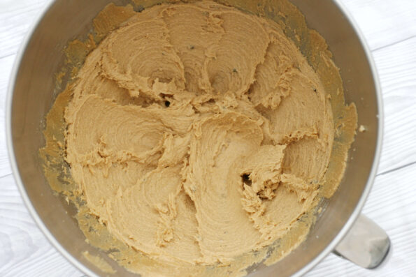 creamed butter and sugar in a bowl