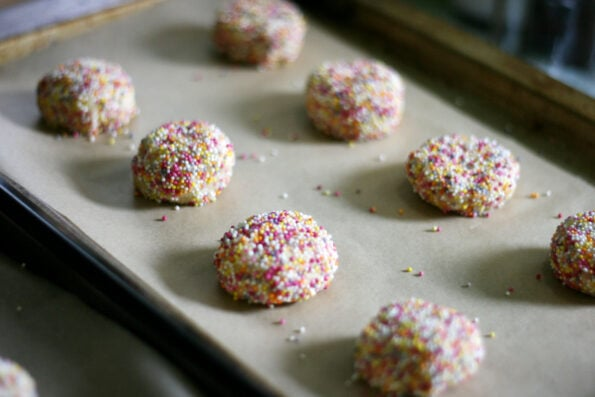 sprinkles cookie on a baking tray