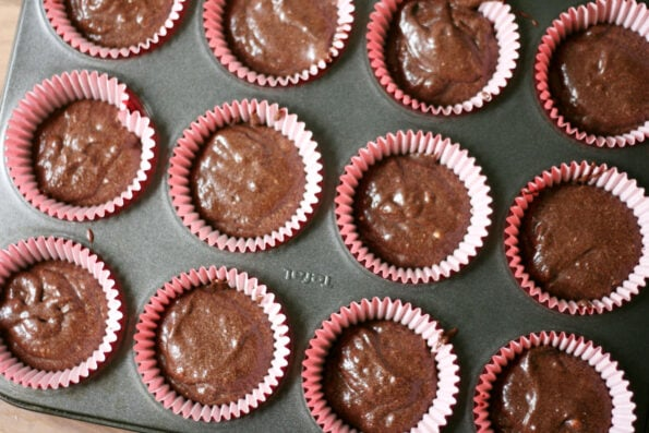 Black Forest cupcakes in a baking tray before being baked