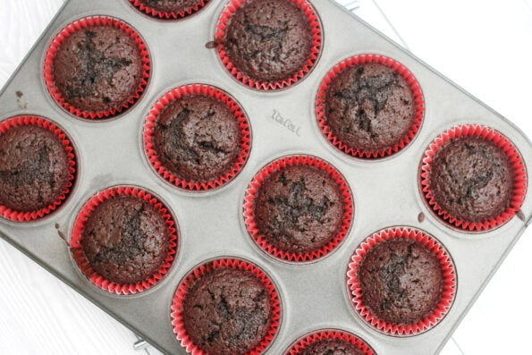 black forest cupcakes in a baking tin before being decorated