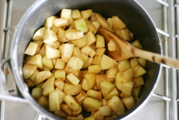 chopped apples in a pan