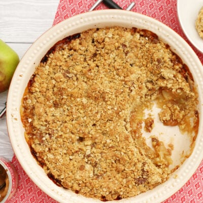 caramel apple crumble in a dish from above