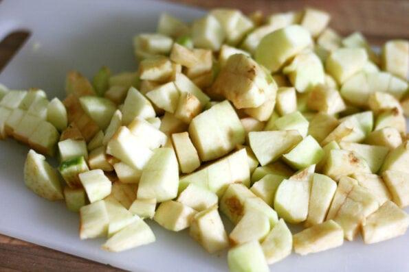 chopped apple on a chopping board