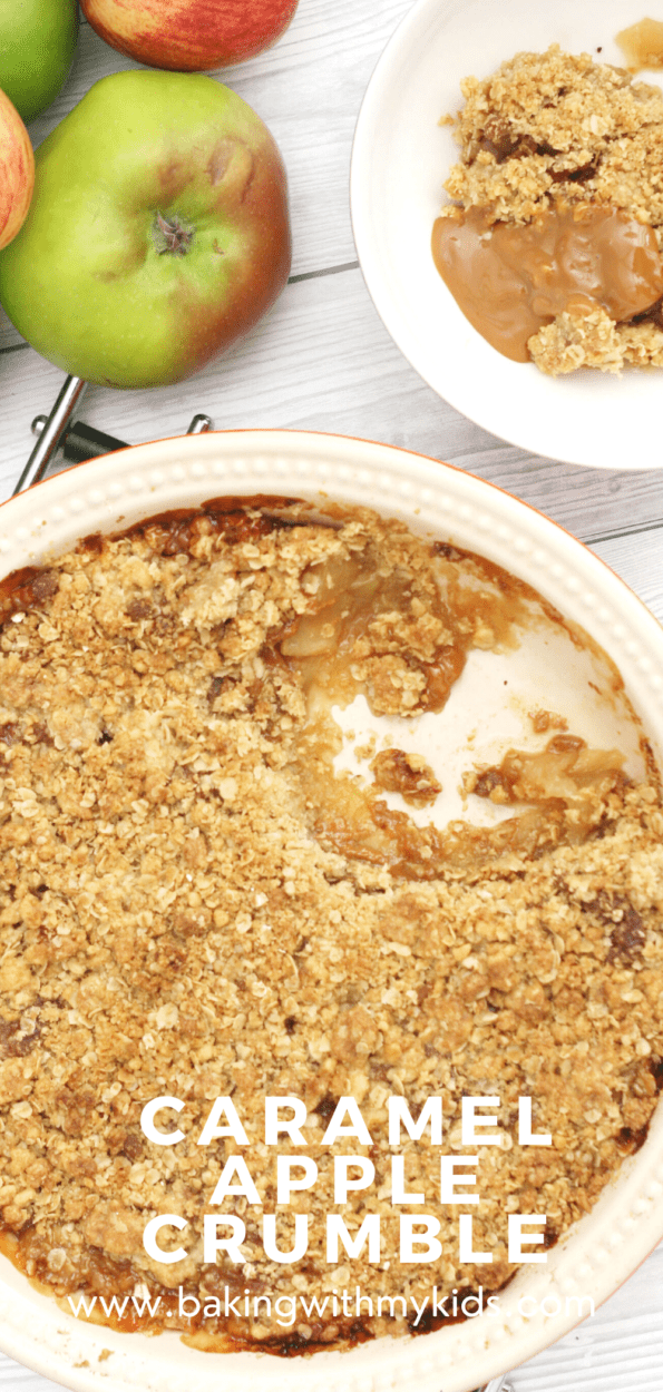 caramel apple crumble graphic with a text overlay